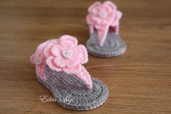 Crochet baby sandals, baby gladiator sandals, baby booties, baby shoes, pink and grey, photo prop, READY TO SHIP, size 3-6 months on Etsy, $12.07