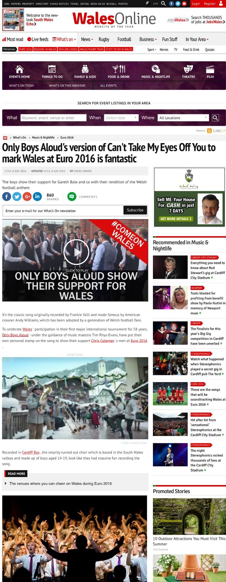 """Only Boys Aloud lend their support to the Wales Football Team #TogetherStronger """"2016"""""""