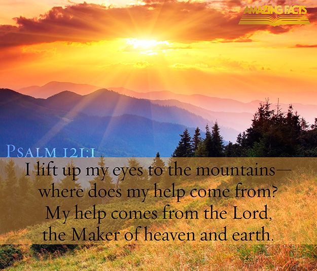 A Song of degrees. I will lift up mine eyes unto the hills, from whence cometh my help. (Psalms 121:1)