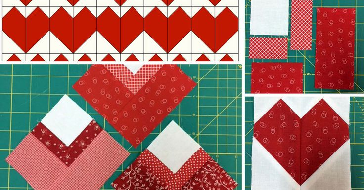 """Here are a couple block patterns that you can make for Valentine's Day. Either of these blocks can be used to make wall quilts, table runners, pillows or quilts. This first block is basically half of a Log Cabin block set on point and measures 4¼"""" x 4¼"""" finished. The second is a 4"""" x 4"""" heart block."""