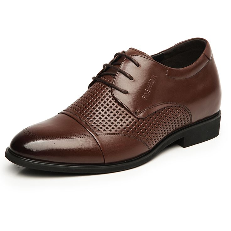 2015 breathable hollow out elevator oxfords 7cm / 2.75inches brown formal sandals