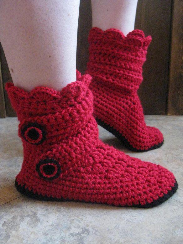 Women's handmade crochet snow boot slippers —