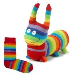 Animaux en chaussettes - Chenille chaussette couleur arc-en-ciel