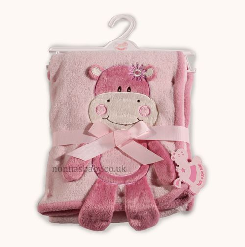 Supersoft Hippo Pram Blanket - Supersoft Pink Pram Blanket Wrap for Girls, with a very cute Hippo appliqué - http://nonnasbaby.co.uk/product-category/blankets-shawls-girls/