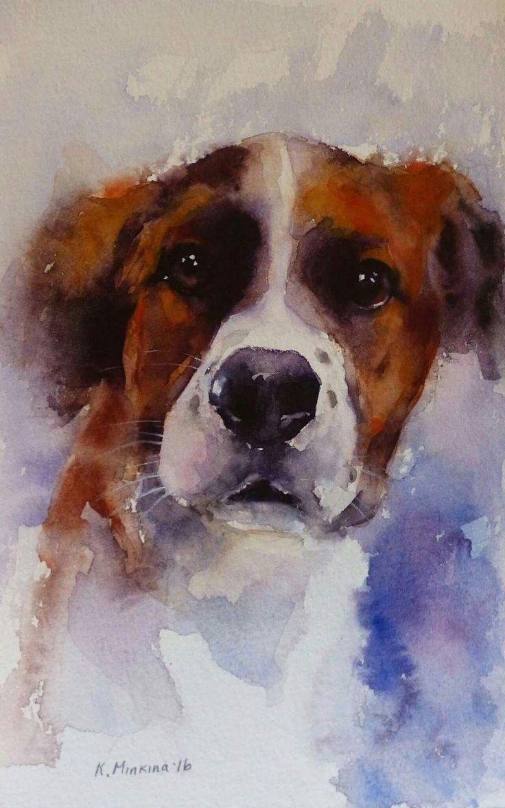 Fine watercolor art for sale - Daily Paintworks Chuck Original Fine Art For Sale Katya