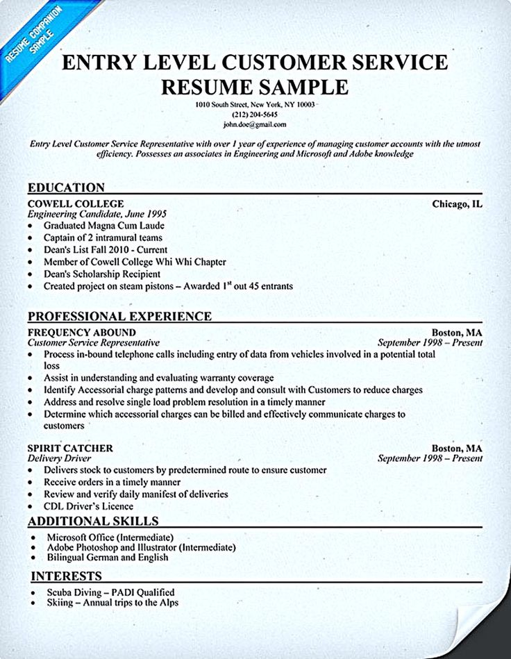 customer service resume consists of main points such as skills abilities and educational background of - Sample Entry Level Customer Service Resume