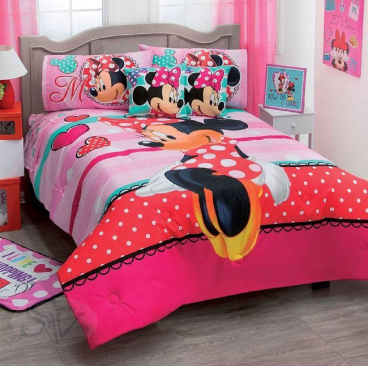 Disney Minnie Mouse Amor Love Red Dress Pink Comforter Double Sided Sheet Set Comforters