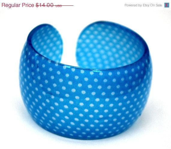 Vintage Blue Polka dot Lucite Cuff Bracelet by serendipitytreasure, $12.60