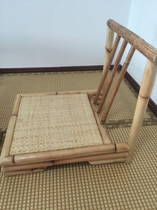 Modern Rattan Bambusz Székben Japán Stílusú Tatami Zaisu Nappali Bútor Bambusz Lábatlan Emeleti Szék Rattan Kézzel Készített