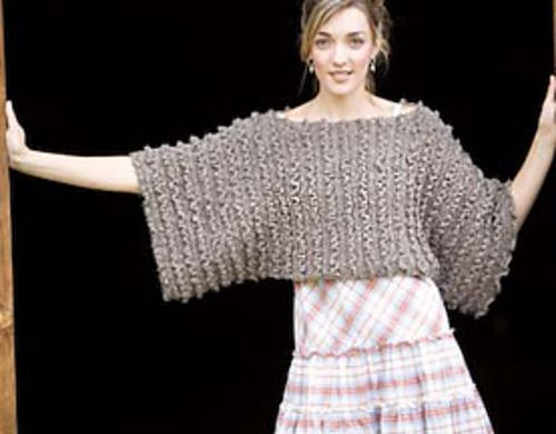 "Gypsy Dolman Top:""This crocheted side-to-side pullover is super easy to make - two unshaped rectangles are seamed at the top and bottom and left open in the center, making openings for the head and torso."