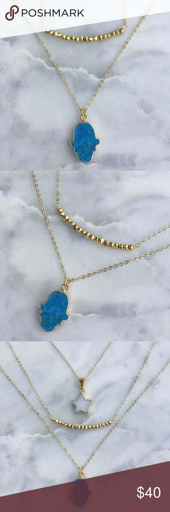 "Turquoise Hamsa Necklace Natural 24k gold plated turquoise Hamsa pendant on an 18"" 18k gold plated chain▫️handmade in El Paso, TX Simple Sanctuary Jewelry Necklaces"