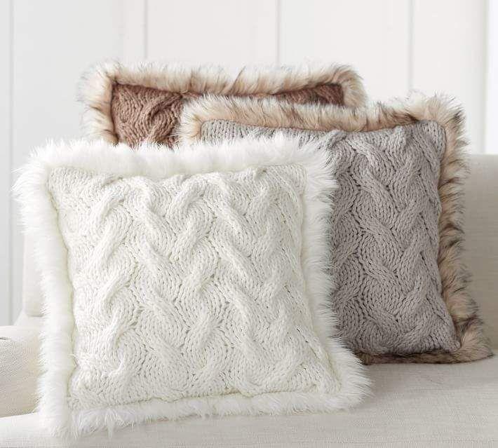 button knit faux fur trim pillow covers