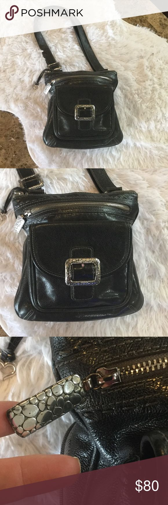 Rare genuine leather Brighton purse Many compartments wallet area on back overall good used condition Brighton Bags Crossbody Bags