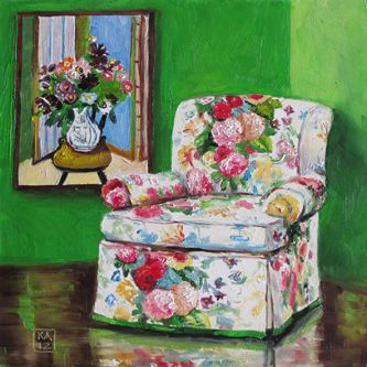 Seating Arrangement Chintz Floral Chair, Painting By Artist Kimberly  Applegate