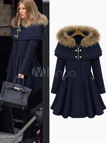 Hooded Faux Fur Flare Cape Coat For Woman #12980547271 $79.79 $59.84