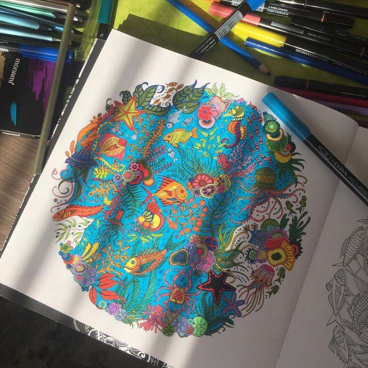 Yaz geldiğine göre artık denize dalalım... #art #artwork #artoftheday #book #brightcolors #balıklar #color #coloring #deniz #draw #drawing #hobi #hobby #johannabasford #lostocean #okyanus #paint #painting #relax #sea #fish #yosun #mavi #blue #nofilter #renk #renkler #coloringbook