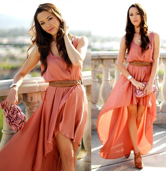 beautiful dress: Maxi Dresses, Summer Dresses, Coral, High Low Dresses, Flowy Dresses, Highlow, Bridesmaid Dresses, Colors, The Dresses