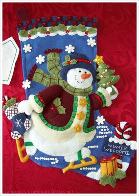 Beautiful #Bucilla #Christmas winter skating #snowman felt stocking! Free shipping and name customization available starting at $37