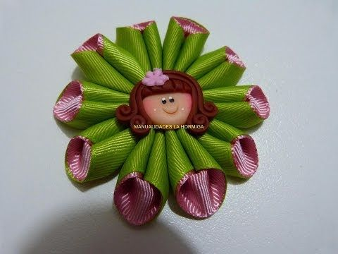 flores y moños en cinta para decorar accesorios para el cabello paso a paso. Manualidadeslahormiga - YouTube