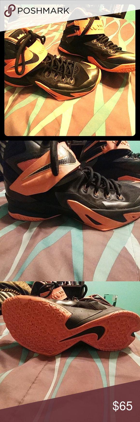 Basketball shoes Orange and black lebrons Nike Shoes Athletic Shoes