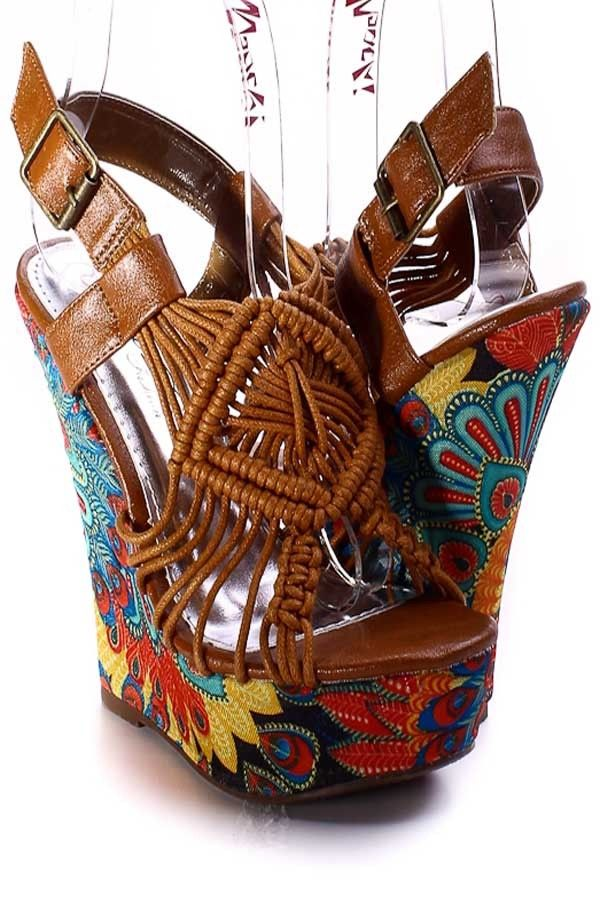 Cute Hippie Boho Platform Wedges