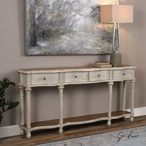 Uttermost Gaultier Aged White Console Table On SALE