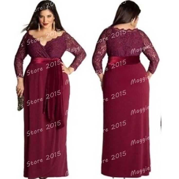 Plus Size Elegant Long Sleeve Evening Dresses Red Wine ...