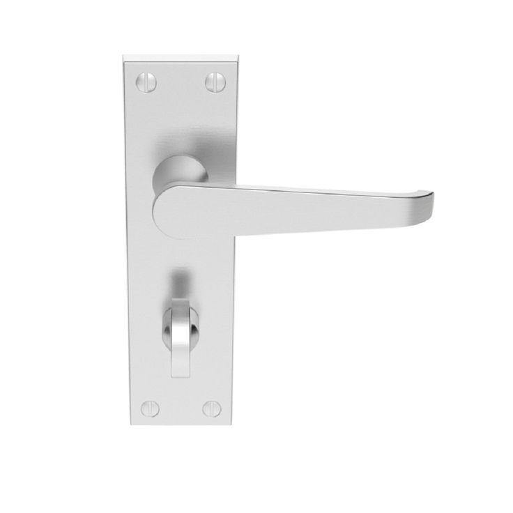 victorian straight lever door handle on 153mm x 41mm bathroom backplate satin chrome
