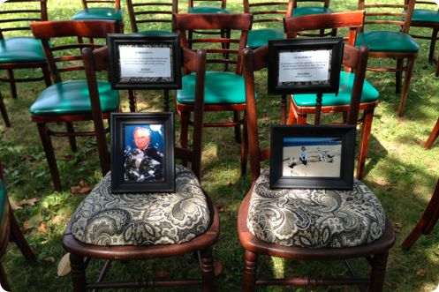 Ways to Remember Loved Ones at the Wedding - LOVE LOVE LOVE this CHAIR idea. One for my Mom, One for Eric's Dad. With pictures of them, and a nice message. Lockets too <3