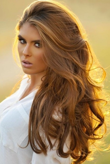 Beautiful honey brown hair ! Going to this color from dark brown and blond mixture highlights
