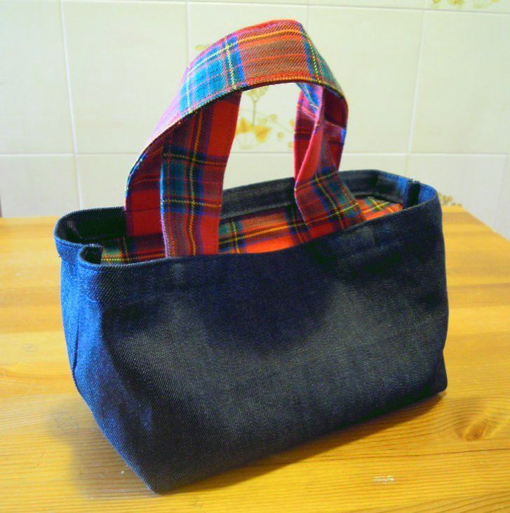 Mini bag jeans scuro e stoffa scozzese