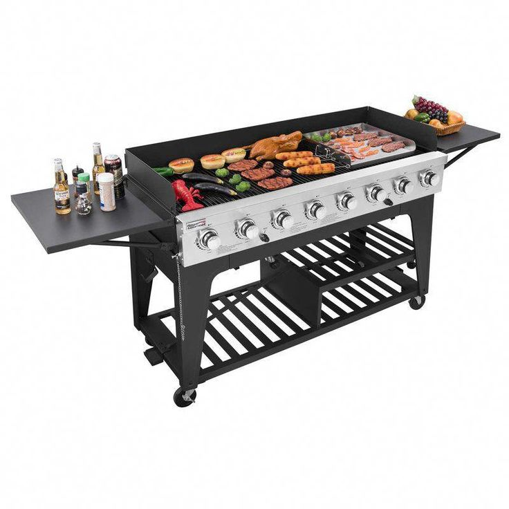 8burner propane gas grill with side shelves in 2020