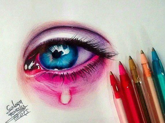 stylo bille yeux
