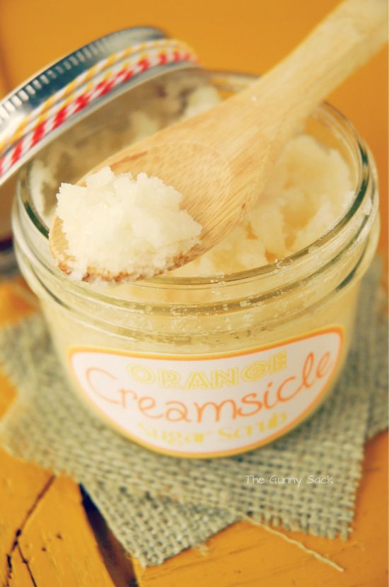 ORANGE CREAMSICLE BODY SCRUB  1/4 cup of coconut oil, 3/4 cup of sugar, 1 teaspoon of vanilla extract and 10 drops of orange essential oil.