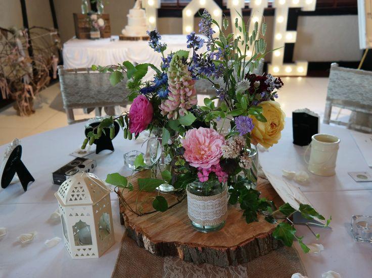June British Flowers in Jam Jars