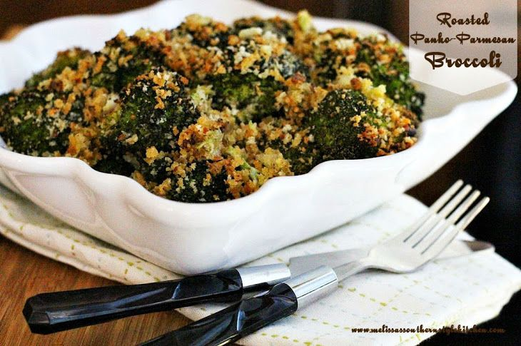Roasted Panko-Parmesan Broccoli Recipe Side Dishes with broccoli florets, green onions, garlic, olive oil, panko breadcrumbs, grated parmesan cheese, italian seasoning, garlic salt, black pepper, red pepper flakes