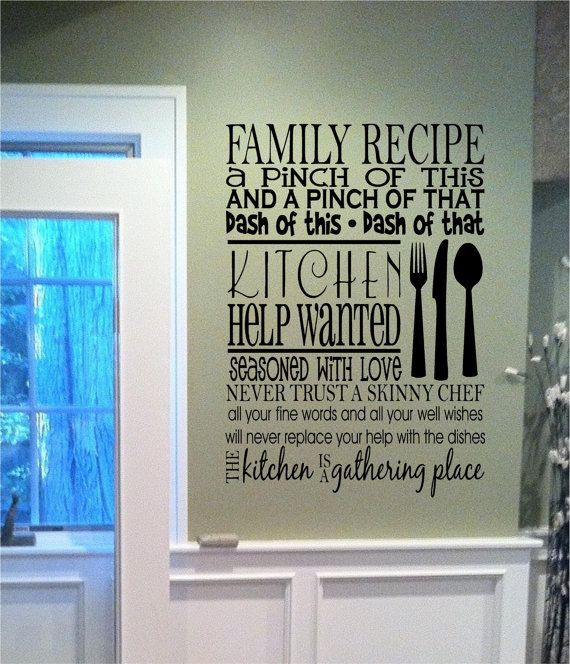 Family Recipe Kitchen Help Wanted Fun By Defineyourspacevinyl 2500