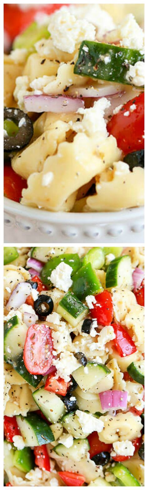 Greek Tortellini Salad ~ Tender cheese filled tortellini, crunchy peppers, crisp cucumbers and juicy tomatoes, topped with loads of cheese and tossed in a greek flavored dressing... This easy recipe is going to become one of your staple potluck dishes.