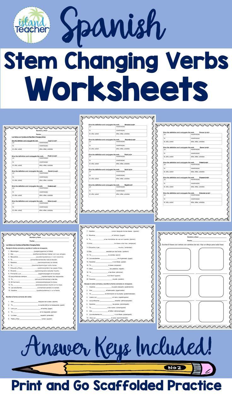 Spanish Stem Changing Verbs Worksheets Verb Worksheets Verb Practice Elementary Spanish Lessons [ 1251 x 736 Pixel ]