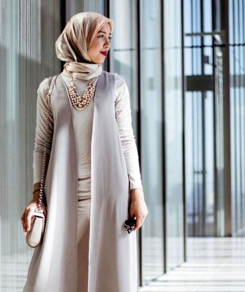 Neutral classy hijab outfit