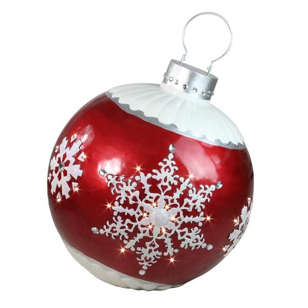 26 5 Led Lighted Red Ball Christmas Ornament With Snowflake Outdoor Decoration Northlight Seasonal In 2020 Red Ornaments Decorating With Christmas Lights Christmas Ornaments