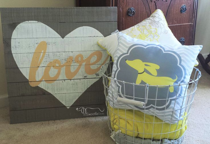 Brighten any room with a yellow and gray dachshund accent pillow. This was originally created for nursery but I loved it so much I redid my room in these colors so I could use this pillow!