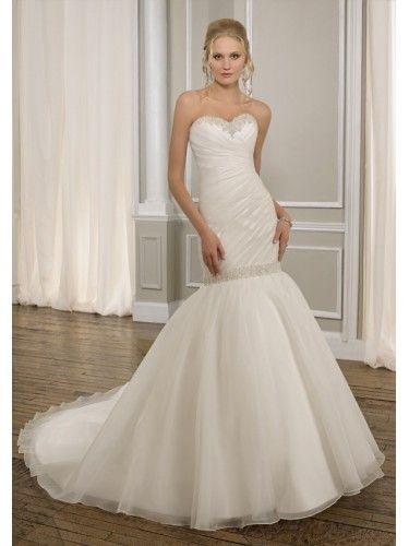 Organza Sweetheart Ruched Bodice Mermaid Wedding Dress