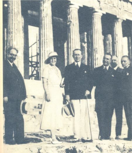 Italian inventor and electrical engineer, Guglielmo Marconi, with his wife visiting the Acropolis ~ 1935
