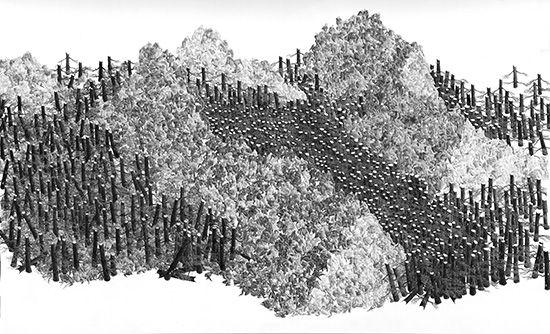 Georg Bohle Landscape 21, 2015 Black fineliner drawing 179 x 109 cm