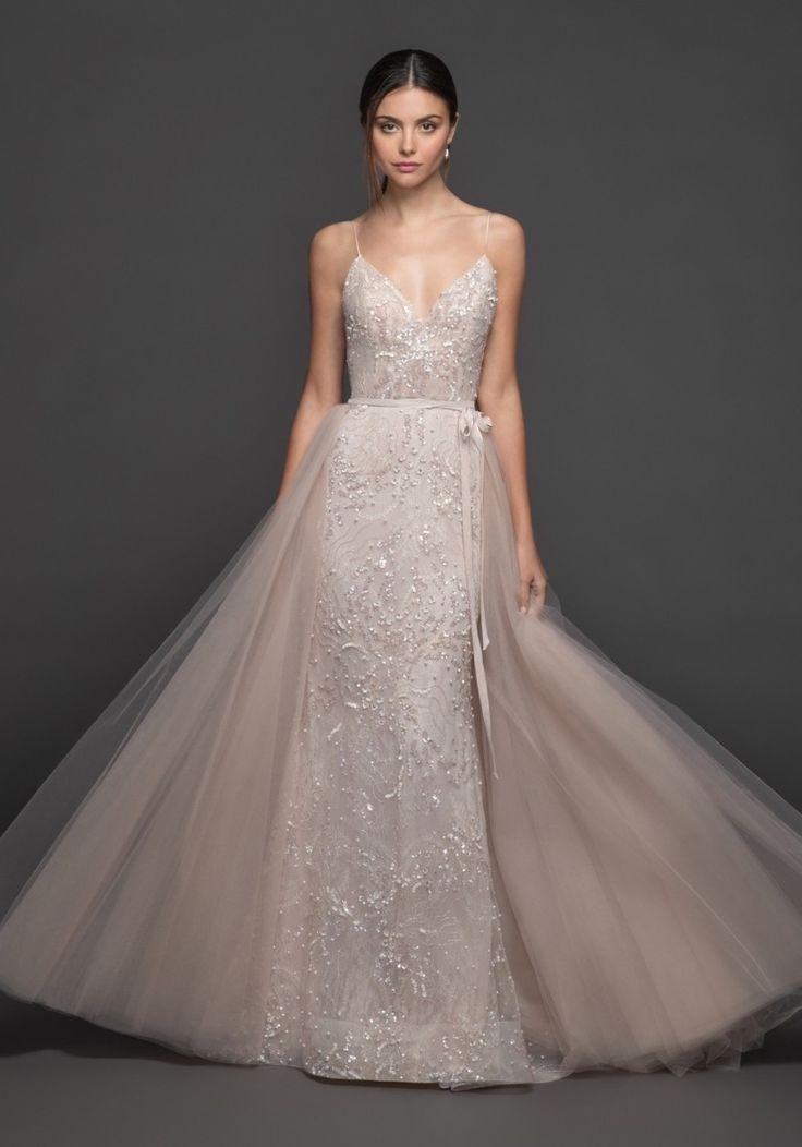 Lazaro ayana sequined blush pink wedding dress with
