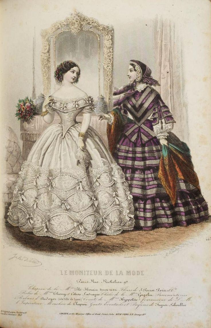 1855. evening and day dress, Le Moniteur de la Mode, November.