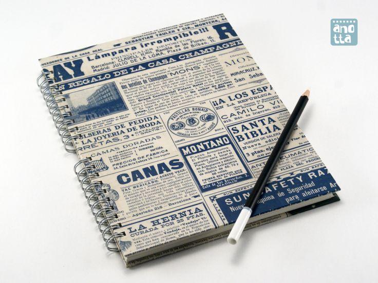 Libreta hecha a mano reciclando una vieja revista de actualidad del año 1913.