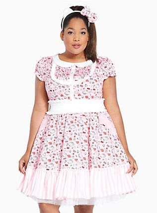 Plus Size Halloween Hello Kitty Multi Print Dress, PINK
