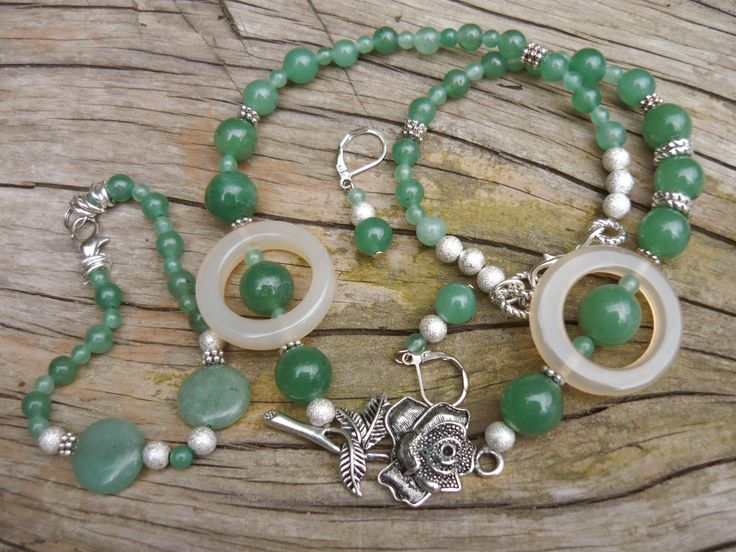 Green aventurine and agate ring form. Set -  necklace, bracelet, earrings - unique